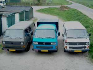 Drie VW T3 bussen naast elkaar