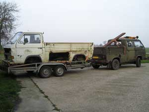 T3 Syncro 16inch enkelcabine pick-up restauratie project op autoambulance