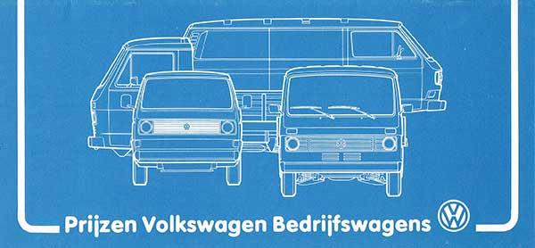 Voorzijde VW T3 prijzen 1980 leaflet