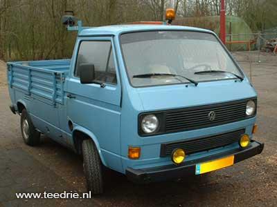 VW T3 enkelcabine pickup blauw met zwaailamp