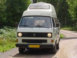 VW T3 Westfalia camper op bosweg