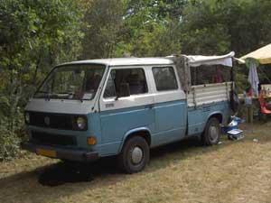 VW T3 doka met huif in blauw met wit