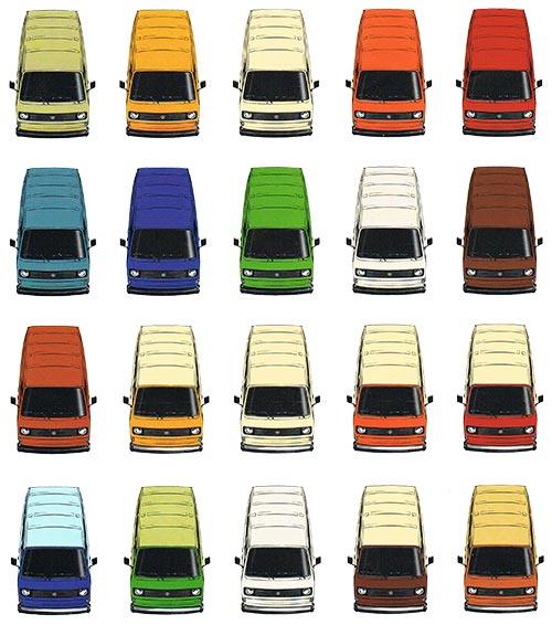 Overzicht van verkrijgbare lakkleuren voor de VW T3 bus