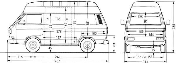 Afmetingen van de VW T3 transporter gesloten bestelwagen met verhoogd dak