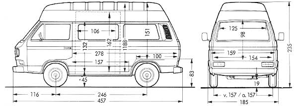 Afmetingen van de VW T3 transporter bestelwagen met ruiten en verhoogd dak