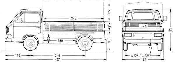 Afmetingen van de VW T3 transporter pick-up enkele cabine