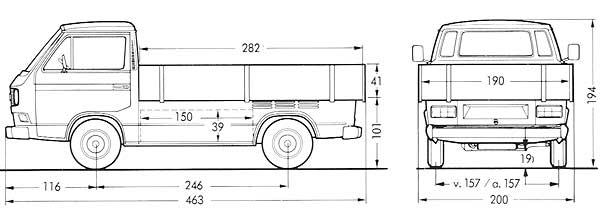 Afmetingen van de VW T3 transporter pick-up enkele cabine en verbrede houten laadbak