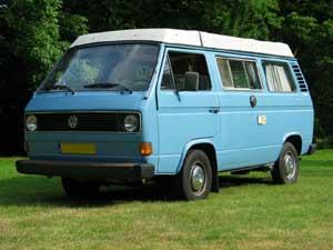 VW T3 camper blauw met wit hefdak