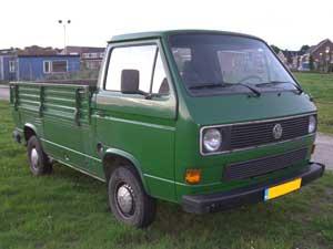 VW T3 groene pick-up met enkele cabine