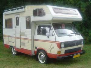 T3 camper Karmann Gipsy rood beige wit