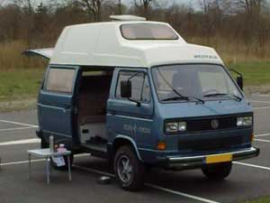 Syncro Westfalia camper blauw met wit hoog dak