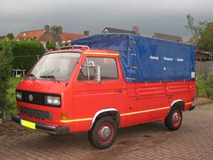 T3 enkelcabine pick-up met blauwe huif